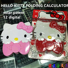 Cute Hello Kitty Calculator Animal Cat Calculadora Dual Solar Power Folding Calculating Valentine's Day Gift