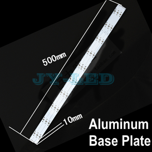10pcs/lot 10w 30w 500mm x 10mm Rectangle Aluminum Base Plate for LED Lamp, Support 10 Piece Diode to Soldering In The Lamp Panel