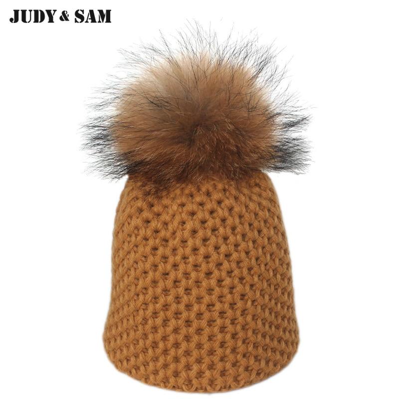 Fall Head Warm Girls Fashion Skull Hat Knitted Woolen With Quality Fur Top Stylish Skullies Beanies Cap