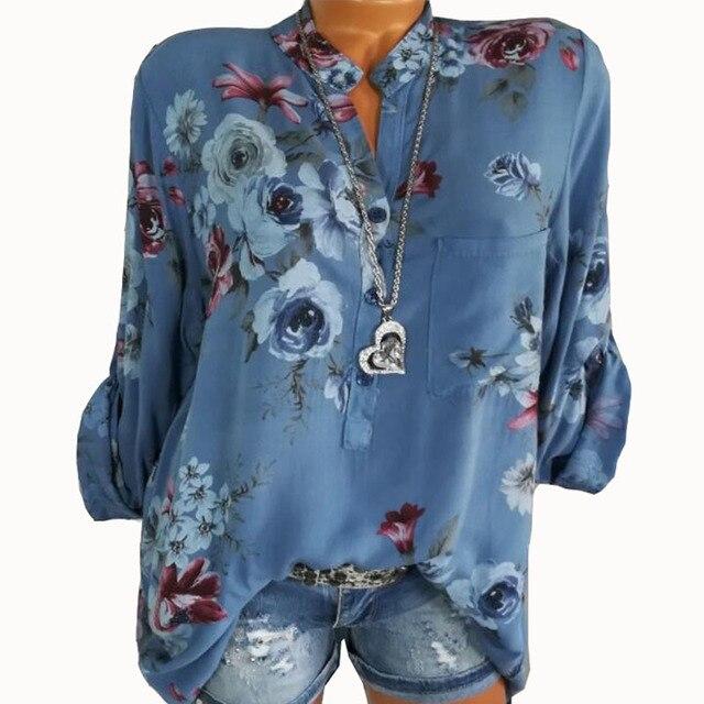 Summer Women Tops Blouses 2019 Autumn Elegant Long Sleeve Print V-Neck Chiffon Blouse Blusa Casual Loose Shirts Plus Size 5XL 2