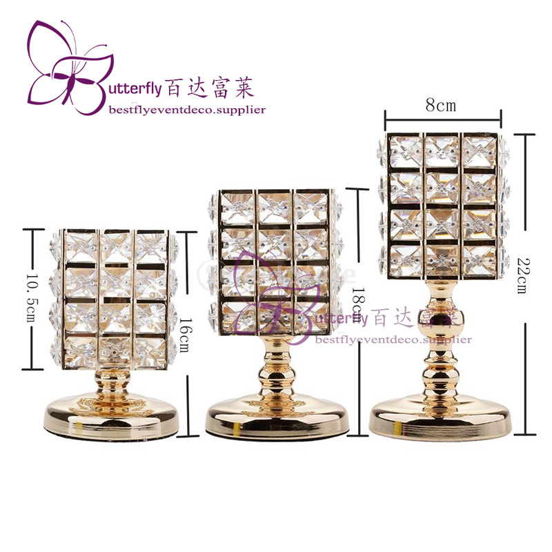 3Pcs Crystal Candle Holders Wedding Centerpieces -3