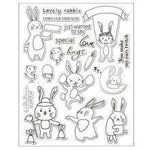 WISHMETYOU Cute Rabbit Seal Transparent Clear Silicone Stamp For DIY Scrapbooking Decorative Photo Album Christmas Bunny Stamps