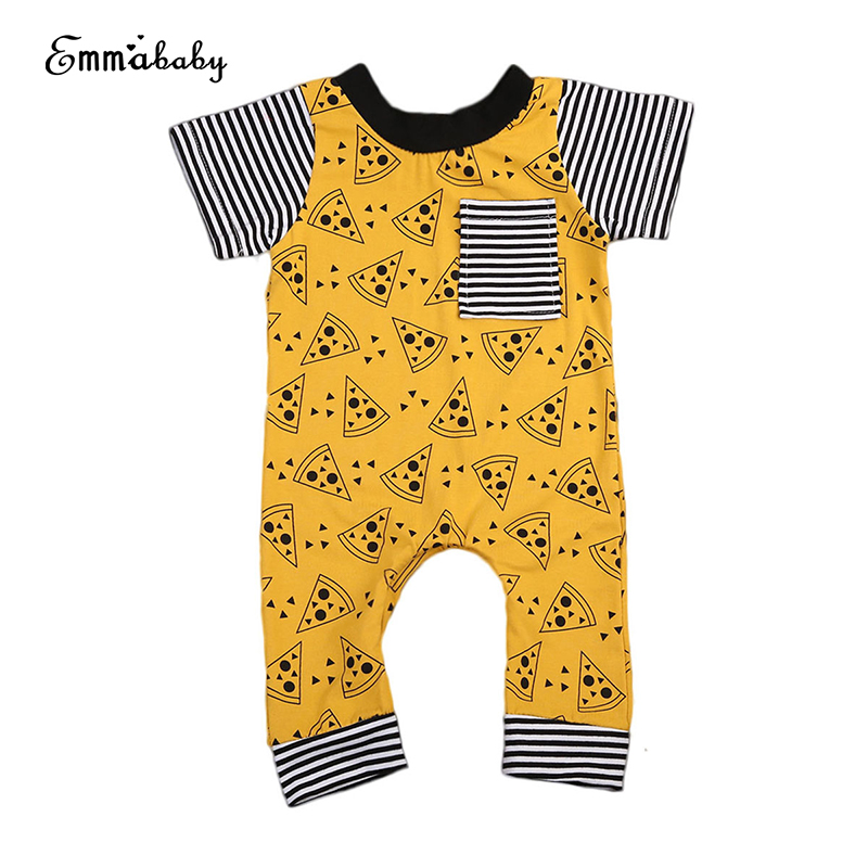 0-24M Newborn Infant Baby Boy Girl Short Sleeve Pizza Print Cotton Romper Jumpsuit Outfits Baby Clothes