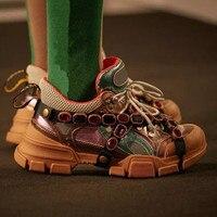 Кожа сетка брендовые Дизайнерские мужские громоздким туфли на плоской подошве Толстая обувь на каблуке смешанный цвет кружева Мужская обу