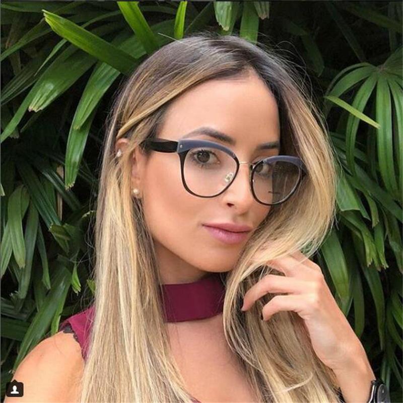 2018 Mode Designer Frau Brille Optische Rahmen Sexy Runde Brille Rahmen Klare Linse Brillen Schwarz Brille Weibliche Uv400