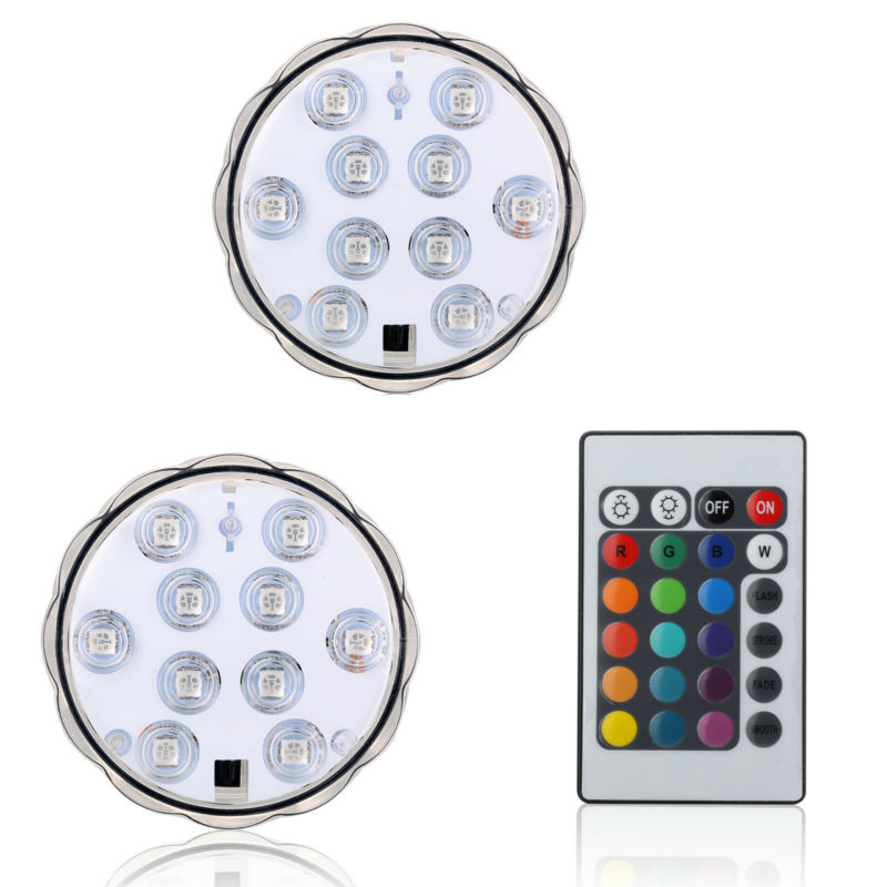 100Pcs*Festival lighting submersible led lights with remote battery powered wedding party vase glass light base for fish tank