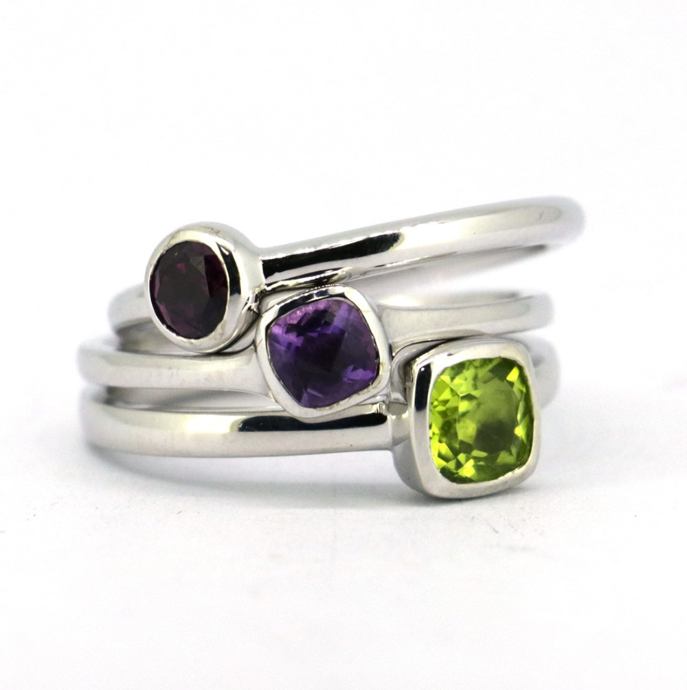 Wellmade 3pcs/set Solid 925 Sterling Silver&Natural Gems Stack Ring