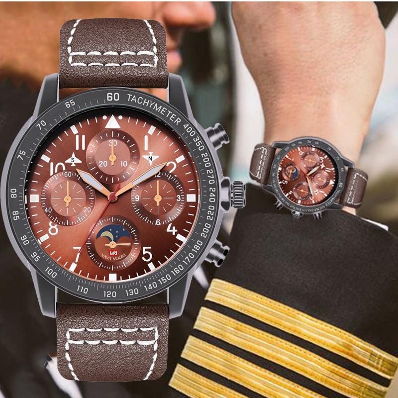 Fashion Watch Leather Strap Wrist Watch For Man Meter Wind Speed Relogio Masculino 2019 Men's Pilots Sports Waterproof Watch Men