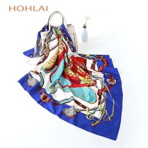 Image 2 - 2018 всесезонный Модный женский шарф, роскошный брендовый хиджаб, саржевая шелковая атласная шаль шарф Мусульманский, квадратный головной платок x
