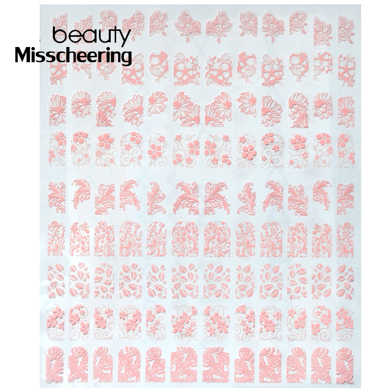 108pcs/sheet Pink 3d Nail Stickers Flower Nails Sticker Stencil DIY Stickers New 2017 Nail Art Decoration fwc hot diy designs nail art beauty flower water stickers nails decoration decals tools