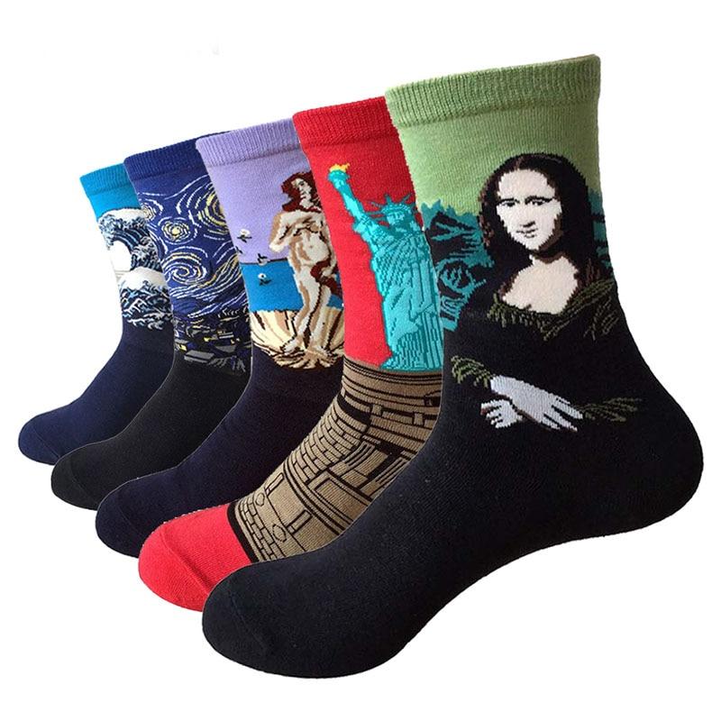 Men&Women 3D Retro Van Gogh Oil Painting Art Socks Funny Cotton Patterned Starry Night In Tube Socks For Women Dropship