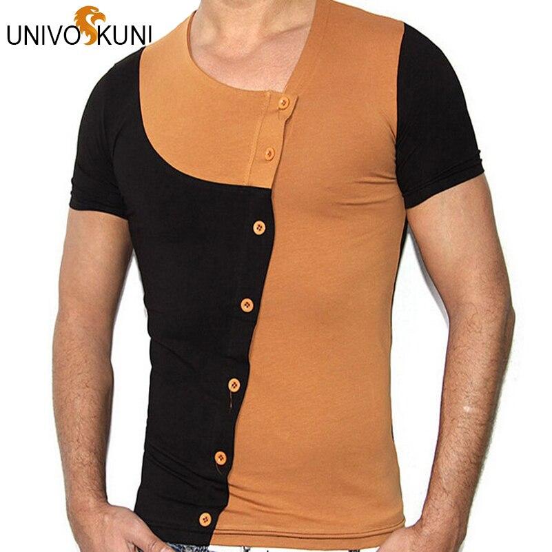 d5e5277ca0 Univos kuni camisetas homens algodão patchwork verão top camisetas de manga  curta design de moda camisetas masculinas zhy1438