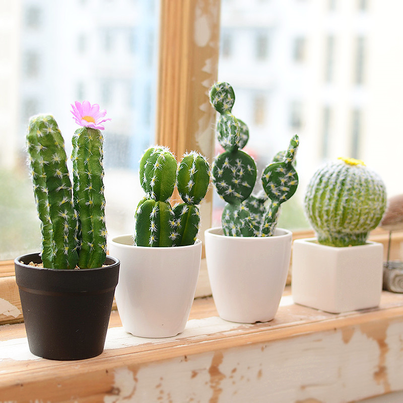 buy artificial succulents cactus green plant simulation plants fake flowers diy. Black Bedroom Furniture Sets. Home Design Ideas