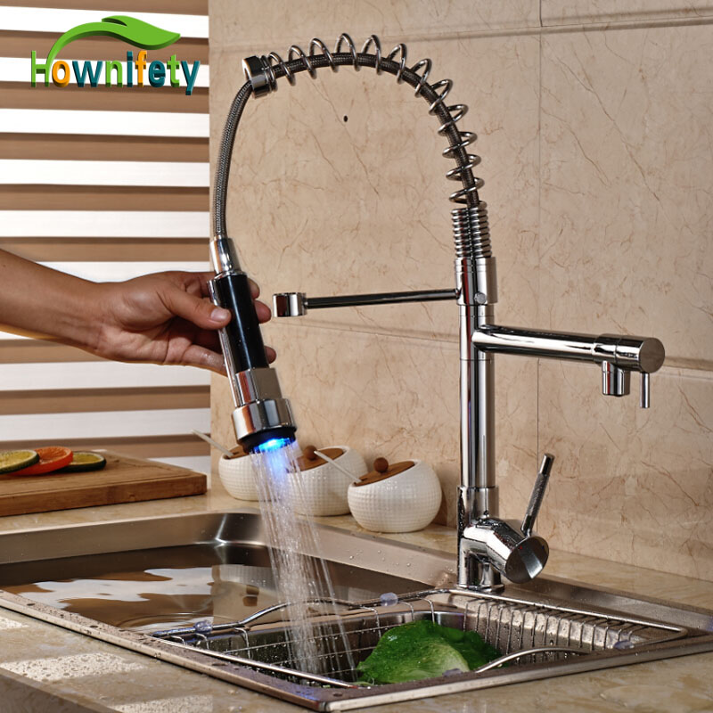 LED Lights Single Handle Swivel Kitchen Sink Faucet Chrome Polished One Hole Mixer Tap s 113 modern single hole chrome swivel kitchen sink