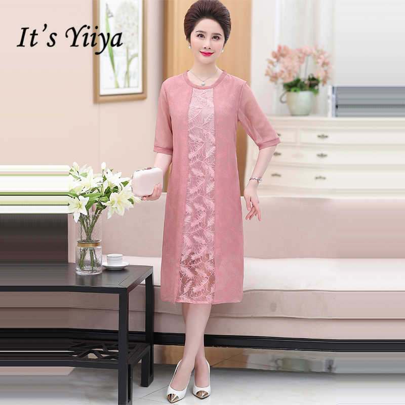 a57f79061e It's Yiiya Mother of the Bride Dresses Plus Size Chiffon O-Neck Half Sleeve  Fashion