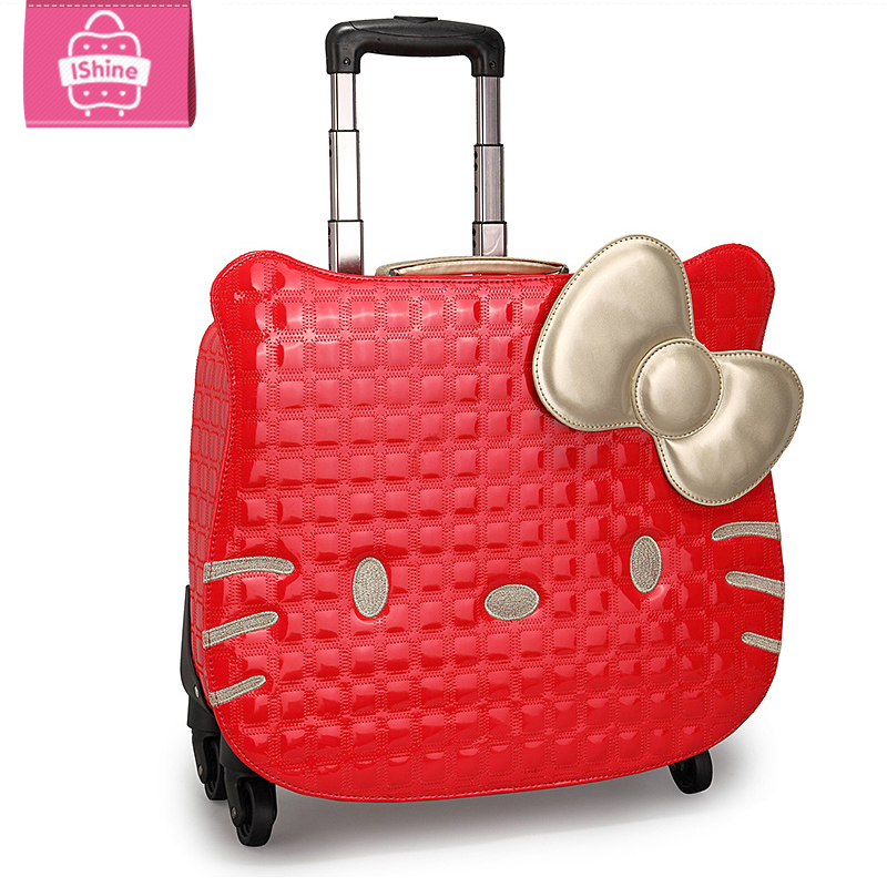 NEW Hello kitty women Girl kids trolley cases luggage 18″uniersal wheels Swivel Casters 3D travel suitcase bag EMS free shipping