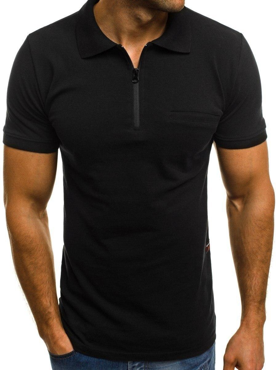 2019 men's   polo   shirt fashion casual solid color lapel zipper men's short sleeve sports   polo   shirt
