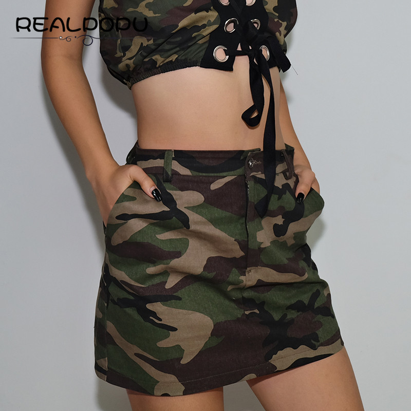 Realpopu Camouflage Female Mini Skirt Jeans Elastic High Waist Side Pocket Streewear Summer 2018 Denim Womens Skirts Green