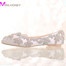 2016 White Satin Diamond Wedding Shoes Flat Heel Women Rhinestone Bride Shoes Handmade Fashion Formal Dress Shoes