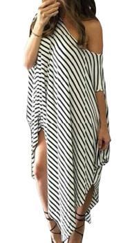 Women Dress, Fashion Striped Long Dresses Casual Loose Round Neck Sundress