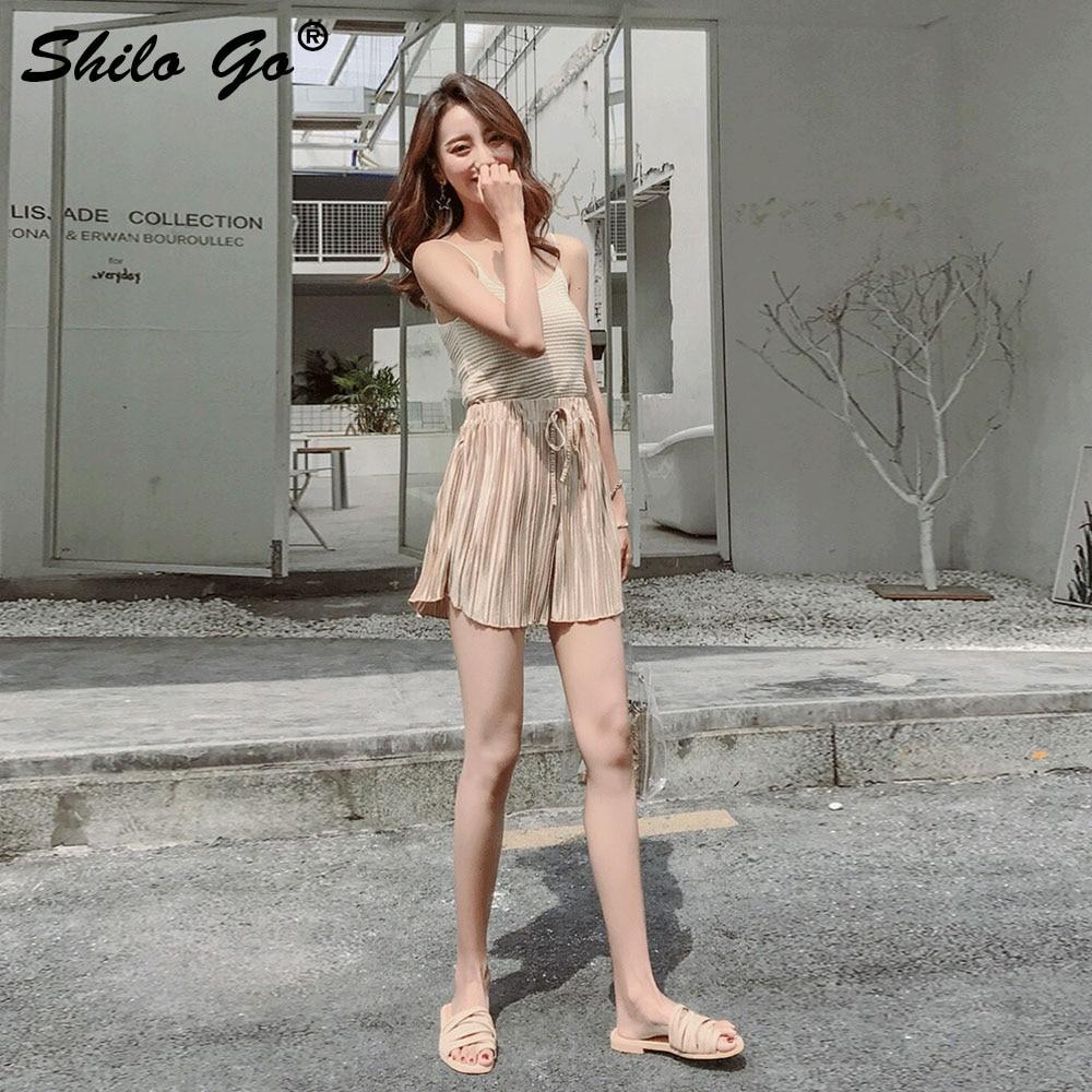 Casual Pantalones Plisado Calle Verano Playa Mujer Suelto Cintura Cortos 2019 Elastiac De nBxwzfHqn