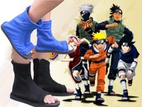 Top Naruto Konoha Ninja Village Black Blue Cosplay Shoes Sandals Boots Costumes Gift