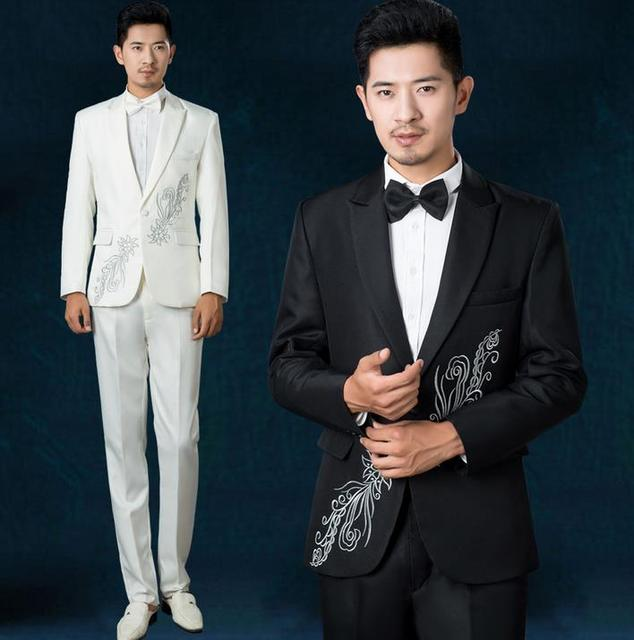 3649a4cc1d1 Black white korean 2019 new arrival men slim fit suits mens suits wedding  groom latest coat pant designs men suit + pant + tie