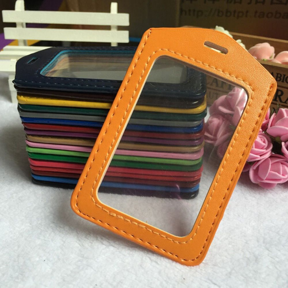 PU Leather ID Badge Case Clear And Color Border Lanyard Holes Bank Credit Card Holders ID Badge Holders Office Supplies