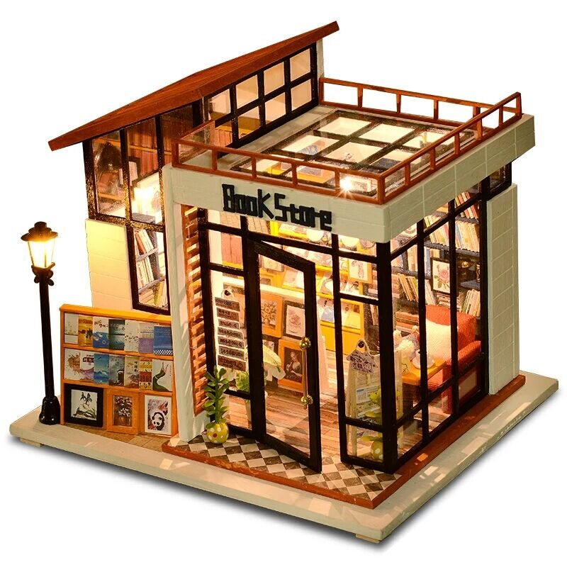 DIY Doll House Miniature Dollhouse With Furnitures Wooden House Miniaturas Toys For Children New Year Christmas Gift Book Store first colouring book doll s house