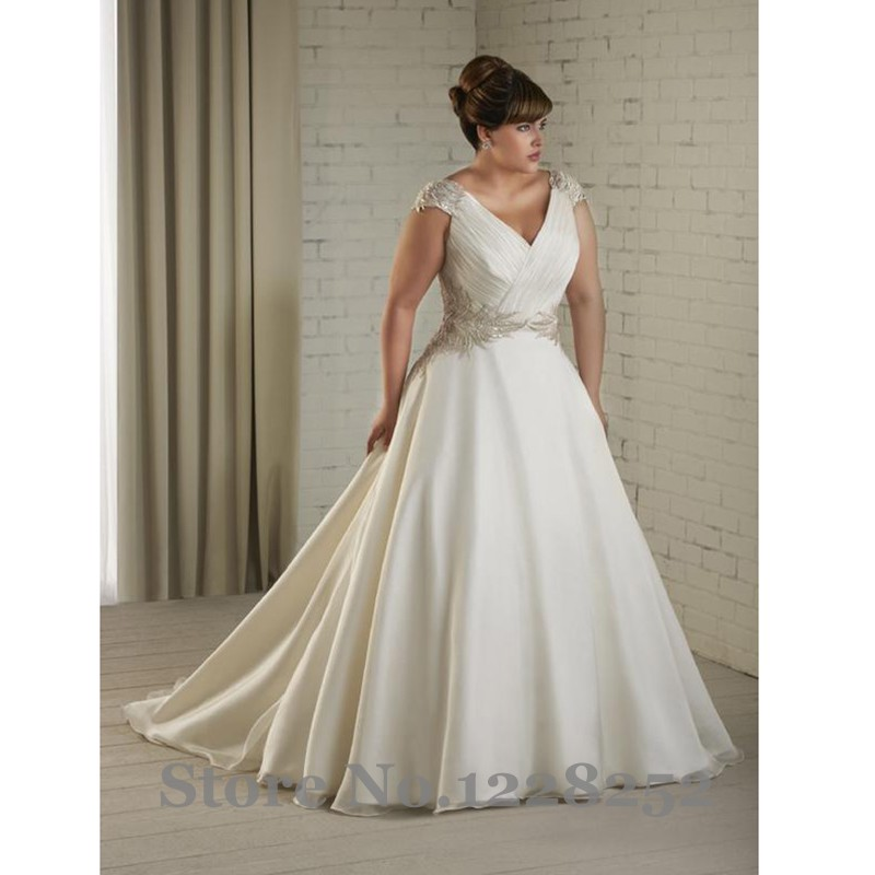 Vintage Princess Plus Size Wedding Dresses With Cap Sleeve V Neck