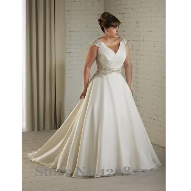Vintage Princess Plus Size Wedding Dresses with Cap Sleeve V Neck ...