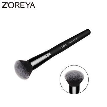 ZOREYA Brand Black Round Powder Brush High Quality Synthetic Hair Single Cosmetic Tools Soft Face Contour Makeup Free Shipping