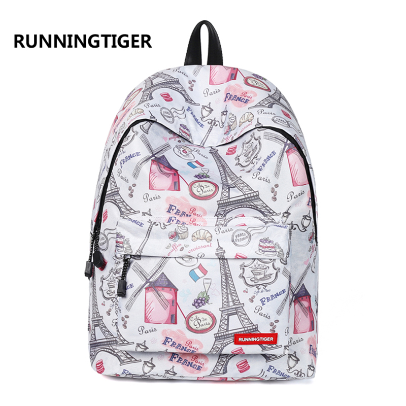 RUNNINGTIGER Backpack Women Eiffel Tower Printing Backpack Casual School Bags for Teenage Girls Travel Backpack Female Mochila