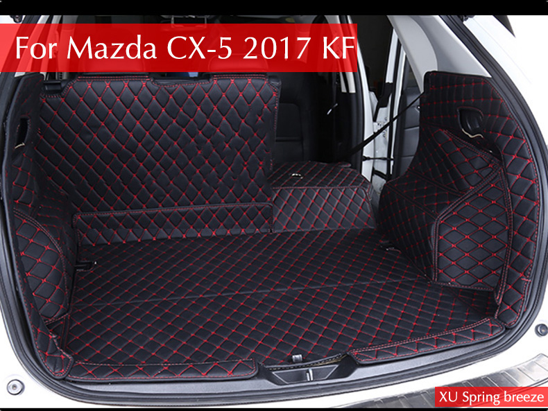 For Mazda CX-5 CX5 2017 2018 KF Car Rear Tail Box Trunk Mat Durable Boot Carpets Car styling for mazda cx 5 cx5 2017 2018 kf 2nd gen car co pilot copilot stroage glove box handle frame cover stickers car styling