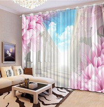 flower lily 3D Curtain Printing Blockout Polyester Chinese Sun Photo Drapes Fabric For Room Bedroom Window