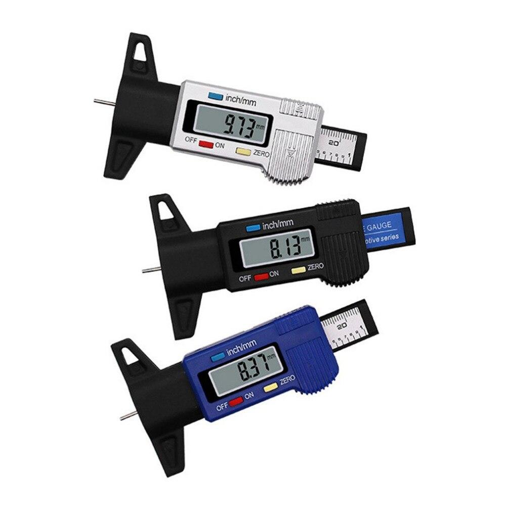 Comprobador de profundidad Digital para neumático de coche 0-25mm Profundidad del dibujo del neumático calibrador medidor calibrador de herramienta de medición pantalla LCD Medición de neumáticos