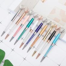 Creative glass diamond ballpoint pen beautiful simulation crystal metal office school stationery