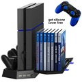 Vertical Stand &Cooling Fan,Game Holder Dual Charging Station with USB HUB & DiscStorage Manager for PS4 DualShock 4 Controllers