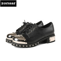 Zorssar 2018 NEW Fashion Rivets Punk Style Womens Shoes Large Sizes 43 Genuine Leather High