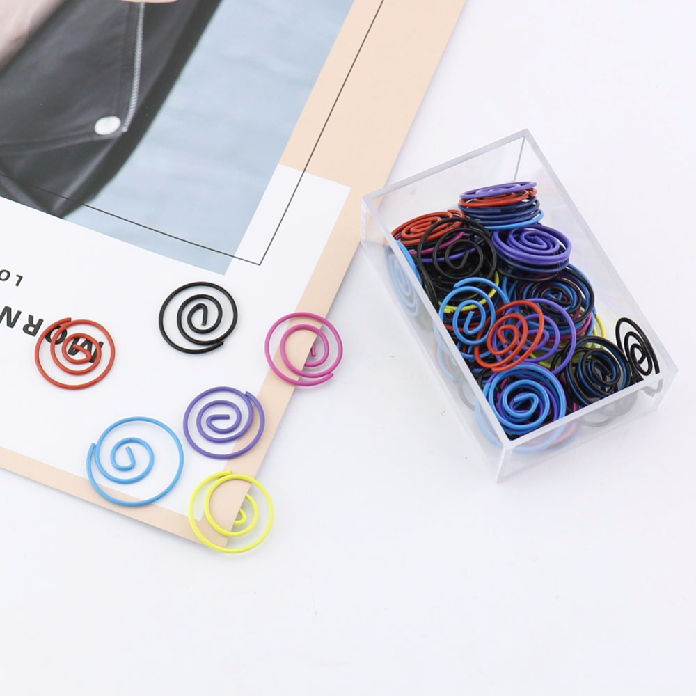 TUTU 60pcs/box Silver Metal Circle Shape Round Paper Clips Silvery Color Funny Kawaii Bookmark Marking Clip H0211