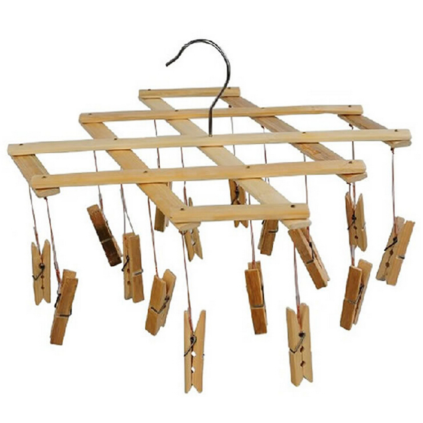 16/set Bamboo Clothes Pegs Laundry Strong Washing Line Drying Clip Drying Rack