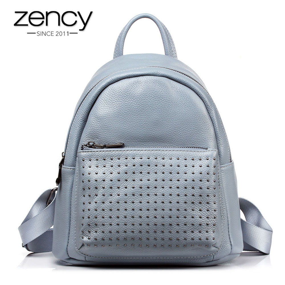 Zency 100% Genuine Leather Backpack Women Fashion Female Summer Travel Bags Rivets Preppy Style Girls' Schoolbag High Quality 2016 fashion women backpack genuine leather female college wind schoolbag for girls women preppy style ladies travel backpacks