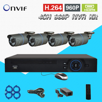 1 Megapixel Outdoor IP Camera 4ch NVR Kit Network Security System 960P Real Time NVR IP