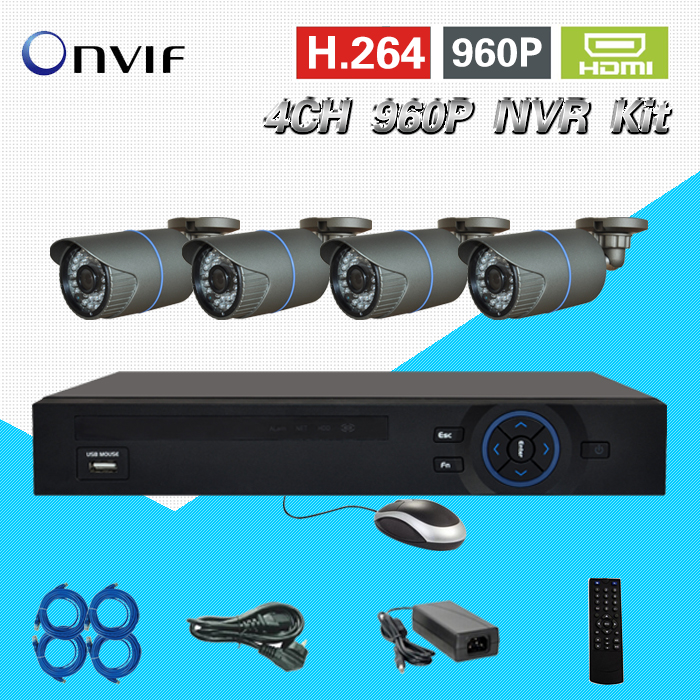 TEATE 4CH 960P NVR Kit 4CH H.264 full 960P real time HD recording POE NVR  4* 960P outdoor IR waterproof IP cameras CK-024 wireless pager system 433 92mhz wireless restaurant table buzzer with monitor and watch receiver 3 display 42 call button