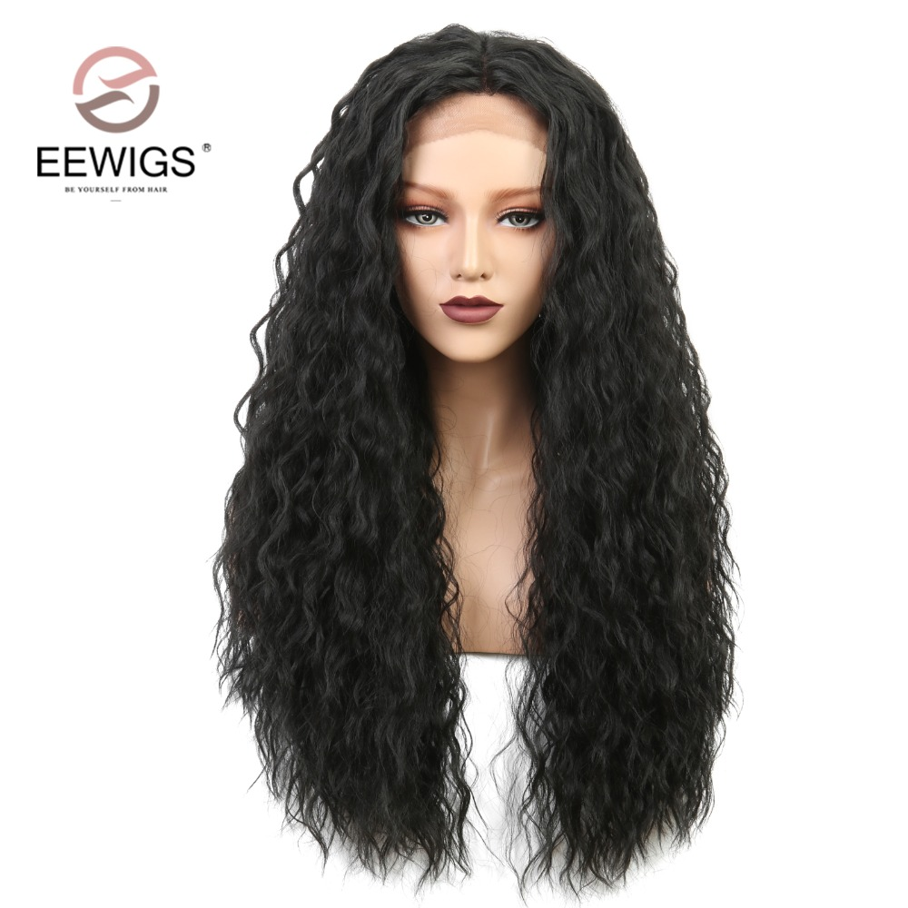 Long Natural Wave Synthetic Lace Front Wig Black Afro Women's Wig Natural Wigs for Women Black Daily Use Half Hand Tied 26 Inch