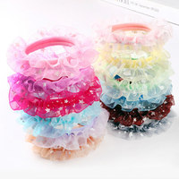100pcs Lot Version Of The New All Match Lace Children Ring Seamless Girls Hair Headdress Wholesale