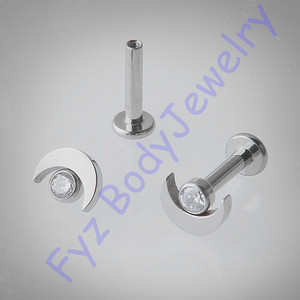 Image 1 - 14G 16G  Internal Thread Moon Ear Tragus Cartilalges Stud Earring  G23 Titanium Labert Lip Percing Body Jewelry