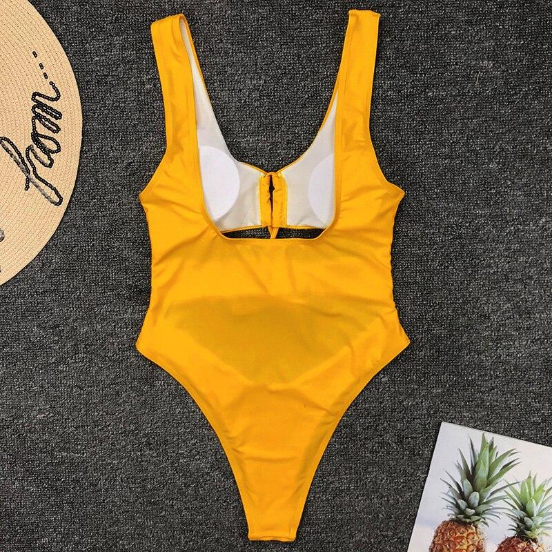2019 Women Bandeau Swimwear Sexy Tummy Cut Out One Piece Swimsuit Female Backless Monokini High Leg Cut Bathing Suit Swim Wear in Body Suits from Sports Entertainment