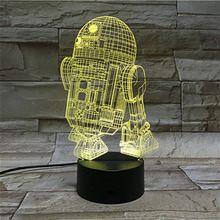 3d Led Night Light Lamp Astromech Droid Robot R2 D2 Kid Bedroom Decorative Nightlight Childrens Birthday Gift Star Wars