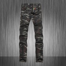 Top Fashion!Mens Famous Brand Camouflage Biker Jeans,Slim Fit Straight Multi Pocket Jeans For Men High Quality